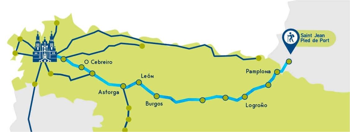Mappa del Cammino Francese